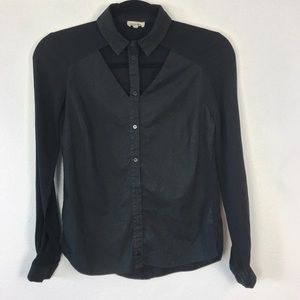 River Island Cut Out Black Mixed Media Button Down